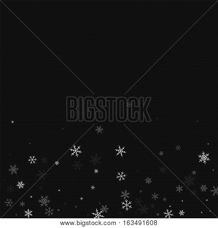 Sparse Snowfall. Scatter Bottom Gradient On Black Background. Vector Illustration.