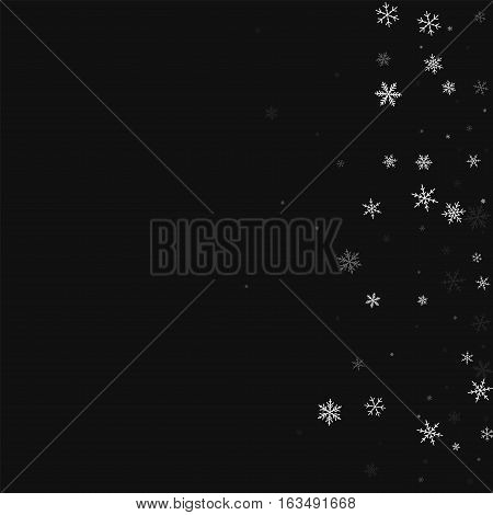 Sparse Snowfall. Scatter Right Gradient On Black Background. Vector Illustration.