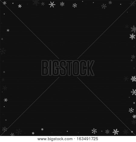 Sparse Snowfall. Chaotic Frame On Black Background. Vector Illustration.