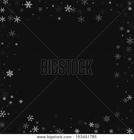 Sparse Snowfall. Chaotic Border On Black Background. Vector Illustration.