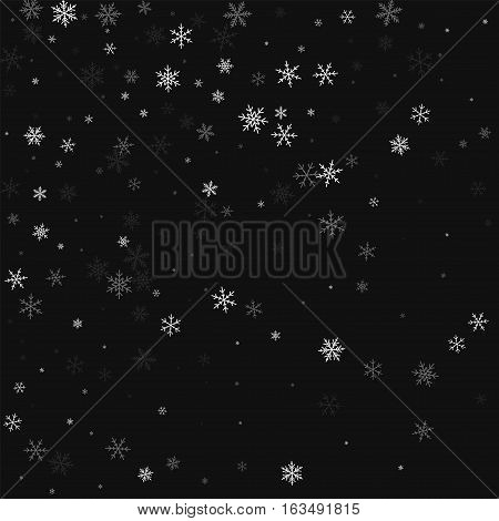 Sparse Snowfall. Abstract Scatter On Black Background. Vector Illustration.