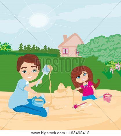 children play in the sandbox , vector illustration