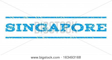 Singapore watermark stamp. Text caption between horizontal parallel lines with grunge design style. Rubber seal stamp with unclean texture. Vector blue color ink imprint on a white background.