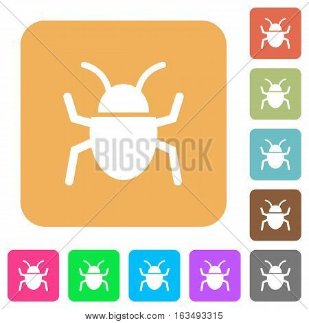 Bug icons on rounded square vivid color backgrounds.