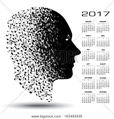 2017 calendar with a man made of musical notes for print or web use