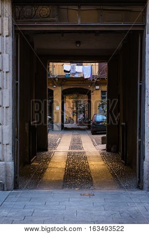 Old European Doorway Residential Apartment Sidewalk Urban City Entrance Arch Archway Architecture De
