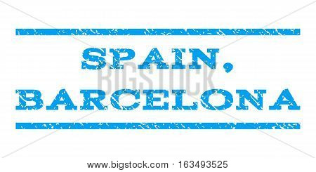 Spain, Barcelona watermark stamp. Text caption between horizontal parallel lines with grunge design style. Rubber seal stamp with unclean texture. Vector blue color ink imprint on a white background.