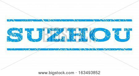 Suzhou watermark stamp. Text caption between horizontal parallel lines with grunge design style. Rubber seal stamp with dirty texture. Vector blue color ink imprint on a white background.