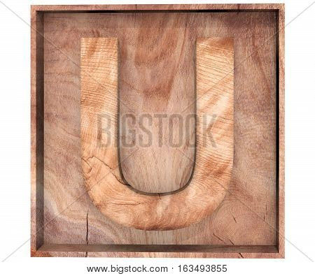 3D Decorative Wood Alphabet, Capital Letter U In Wooden Box