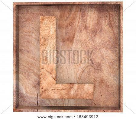 3D Decorative Wood Alphabet, Capital Letter L In Wooden Box
