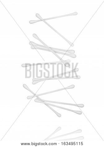 falling cotton ear sticks isolated on a white background