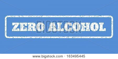 White rubber seal stamp with Zero Alcohol text. Vector tag inside rounded rectangular frame. Grunge design and scratched texture for watermark labels. Horisontal emblem on a blue background.