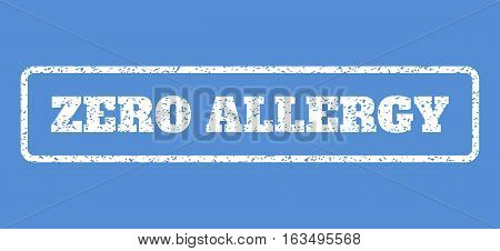 White rubber seal stamp with Zero Allergy text. Vector caption inside rounded rectangular frame. Grunge design and scratched texture for watermark labels. Horisontal sticker on a blue background.