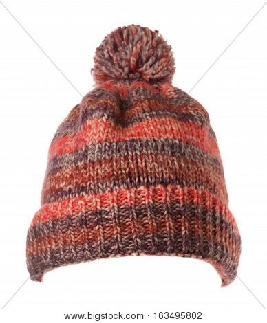 Knitted Hat Isolated On White Background .hat With Pompon .  Varicolored Hat .