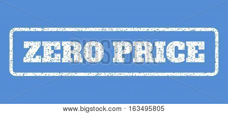 White rubber seal stamp with Zero Price text. Vector caption inside rounded rectangular frame. Grunge design and unclean texture for watermark labels. Horisontal emblem on a blue background.