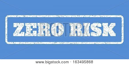 White rubber seal stamp with Zero Risk text. Vector message inside rounded rectangular frame. Grunge design and unclean texture for watermark labels. Horisontal sticker on a blue background.