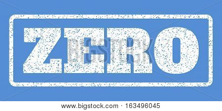 White rubber seal stamp with Zero text. Vector message inside rounded rectangular frame. Grunge design and unclean texture for watermark labels. Horisontal sticker on a blue background.