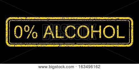 Yellow rubber seal stamp with 0 Percent Alcohol text. Vector message inside rounded rectangular shape. Grunge design and unclean texture for watermark labels. Horisontal emblem on a blue background.