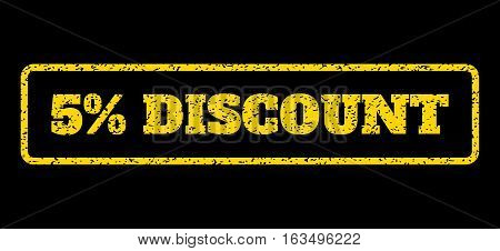 Yellow rubber seal stamp with 5 Percent Discount text. Vector message inside rounded rectangular banner. Grunge design and dust texture for watermark labels. Horisontal sign on a blue background.