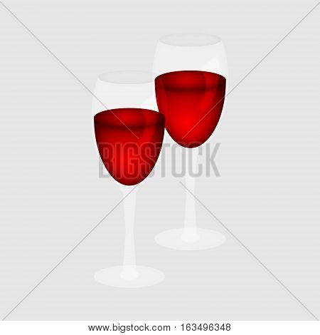 Two glasses of red wine on a white background.Vector illustration