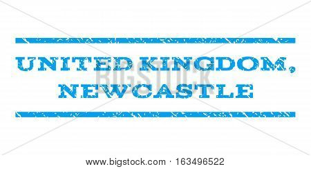 United Kingdom, Newcastle watermark stamp. Text tag between horizontal parallel lines with grunge design style. Rubber seal stamp with scratched texture.
