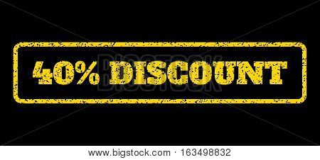 Yellow rubber seal stamp with 40 Percent Discount text. Vector message inside rounded rectangular frame. Grunge design and scratched texture for watermark labels. Horisontal sign on a blue background.