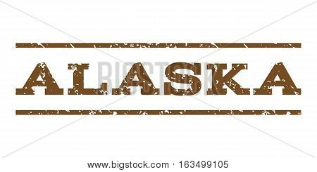 Alaska watermark stamp. Text tag between horizontal parallel lines with grunge design style. Rubber seal stamp with dust texture. Vector brown color ink imprint on a white background.