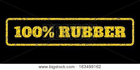 Yellow rubber seal stamp with 100 Percent Rubber text. Vector caption inside rounded rectangular shape. Grunge design and unclean texture for watermark labels. Horisontal sticker on a blue background.
