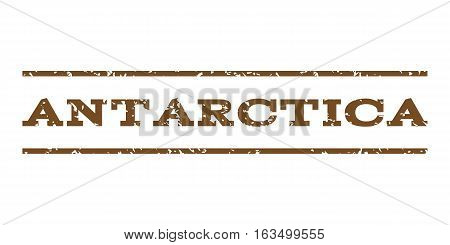 Antarctica watermark stamp. Text caption between horizontal parallel lines with grunge design style. Rubber seal stamp with unclean texture. Vector brown color ink imprint on a white background.
