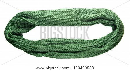 Scarf Isolated On White Background.scarf  Top View .green Scarf.