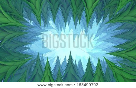Fir forest cave tunnel deep abstract 3d illustration, horizontal background