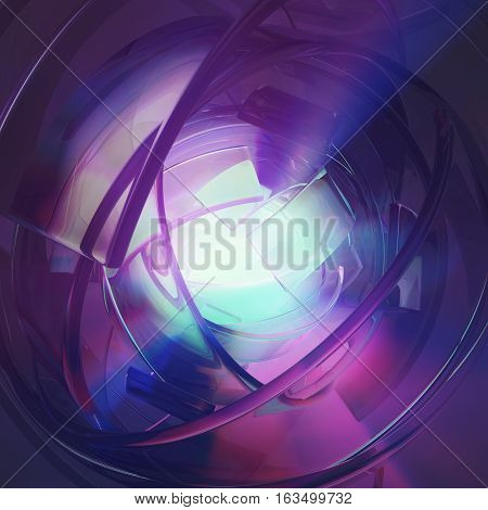 Color light abstract 3d illustration, purple core, square