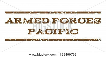 Armed Forces Pacific watermark stamp. Text caption between horizontal parallel lines with grunge design style. Rubber seal stamp with dirty texture.