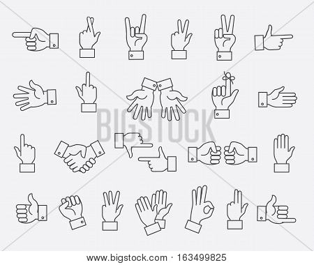 Lined hands gestures and hand pas vector signs. Set of gesturing hands support and like illustration