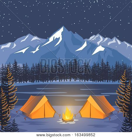 Nature adventure poster. Vector night landscape with outdoor forest camp tents, moonlight and mountains. Banner night woodland with campfire near tent illustration