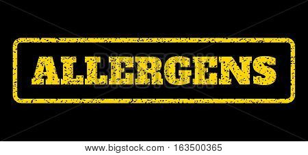 Yellow rubber seal stamp with Allergens text. Vector message inside rounded rectangular banner. Grunge design and unclean texture for watermark labels. Horisontal emblem on a blue background.