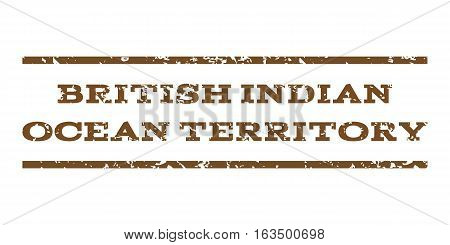British Indian Ocean Territory watermark stamp. Text tag between horizontal parallel lines with grunge design style. Rubber seal stamp with dust texture.