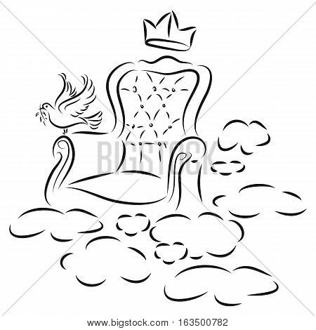 hand drawn a chair of king with pigeon on heaven in black outline isolated on white background. vector illustration.