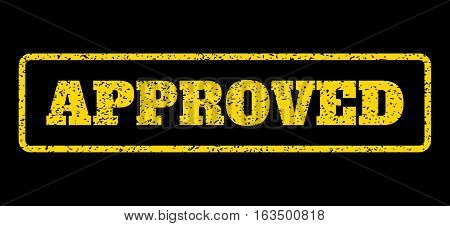 Yellow rubber seal stamp with Approved text. Vector message inside rounded rectangular frame. Grunge design and dirty texture for watermark labels. Horisontal sign on a blue background.