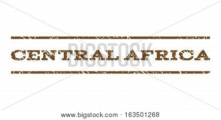 Central Africa watermark stamp. Text tag between horizontal parallel lines with grunge design style. Rubber seal stamp with dirty texture. Vector brown color ink imprint on a white background.
