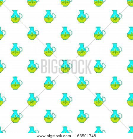 Hemp oil jug pattern. Cartoon illustration of hemp oil jug vector pattern for web