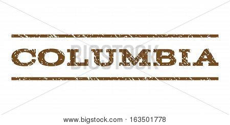 Columbia watermark stamp. Text tag between horizontal parallel lines with grunge design style. Rubber seal stamp with dust texture. Vector brown color ink imprint on a white background.