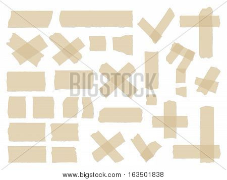 Adhesive tapes. Vector sticky glue scotch tape piece isolated on white background. Sticker vintage question and exclamation illustration