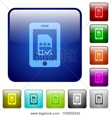 Mobile simcard verified icons in rounded square color glossy button set