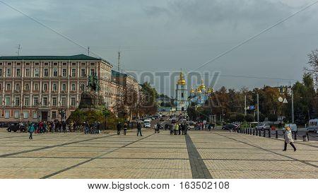 St. Michael's Golden-Domed Monastery in Kiev Ukraine. Monument to Bogdan Khmelnitsky on Sophia Square and St. Sophia Cathedral