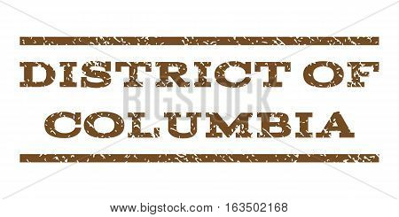 District Of Columbia watermark stamp. Text caption between horizontal parallel lines with grunge design style. Rubber seal stamp with dust texture.