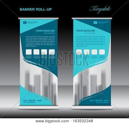 Blue Roll up banner template vector, flyer, advertisement, poster, Display, pull up design