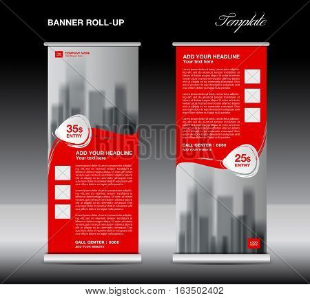 Red Roll up banner template vector, flyer, advertisement, poster, Display, pull up design