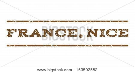 France, Nice watermark stamp. Text tag between horizontal parallel lines with grunge design style. Rubber seal stamp with dust texture. Vector brown color ink imprint on a white background.
