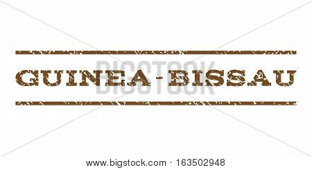 Guinea-Bissau watermark stamp. Text caption between horizontal parallel lines with grunge design style. Rubber seal stamp with dirty texture. Vector brown color ink imprint on a white background.